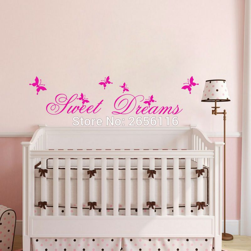 Sweet Dreams Quotes Wall Stickers DIY Butterfly Art Vinyl Wall Decals For  Kids Room Decoration *