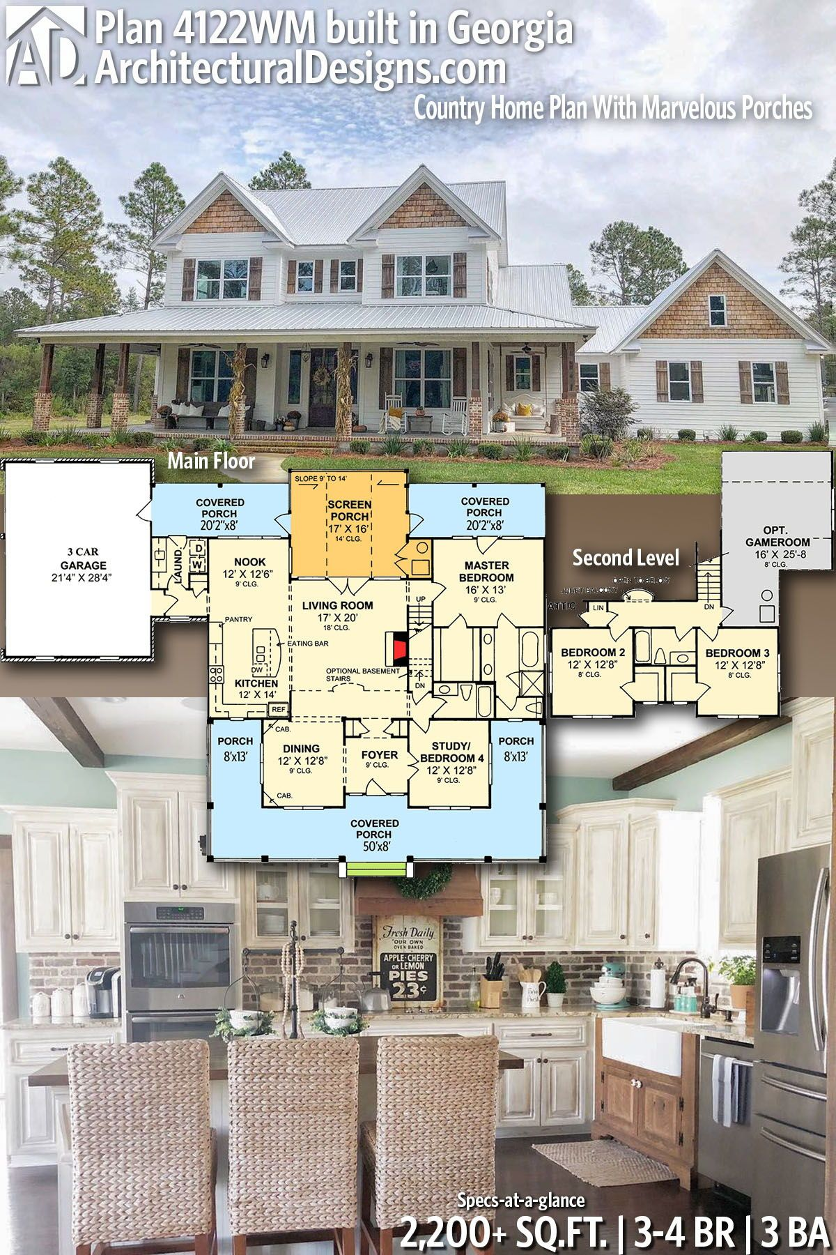 Plan 4122WM: Country Home Plan With Marvelous Porc