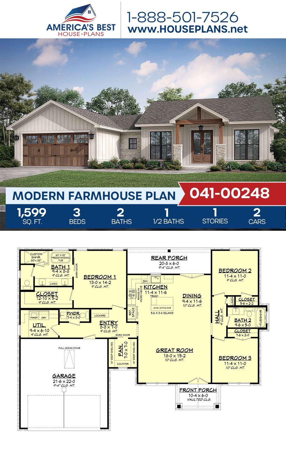 House Plan 041 00248 Modern Farmhouse Plan 1 599 Square Feet 3 Bedrooms 2 5 Bathrooms In 2021 Modern Farmhouse Plans Farmhouse Plans Open House Plans