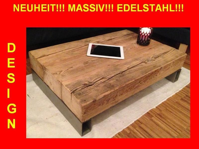 Holz Wohnzimmertisch ~ Massiv jahre altes holz wohnzimmertisch inox von massiv holz
