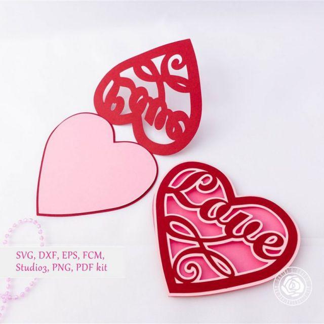 Download Love Heart Card SVG kit - Lace Wedding Invitation SVG Kit ...