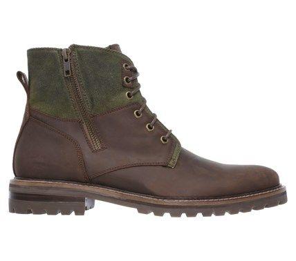 Mark Nason Skechers Men's Briggs Memory Foam Boots (Brown Leather/Olive) -  10.5