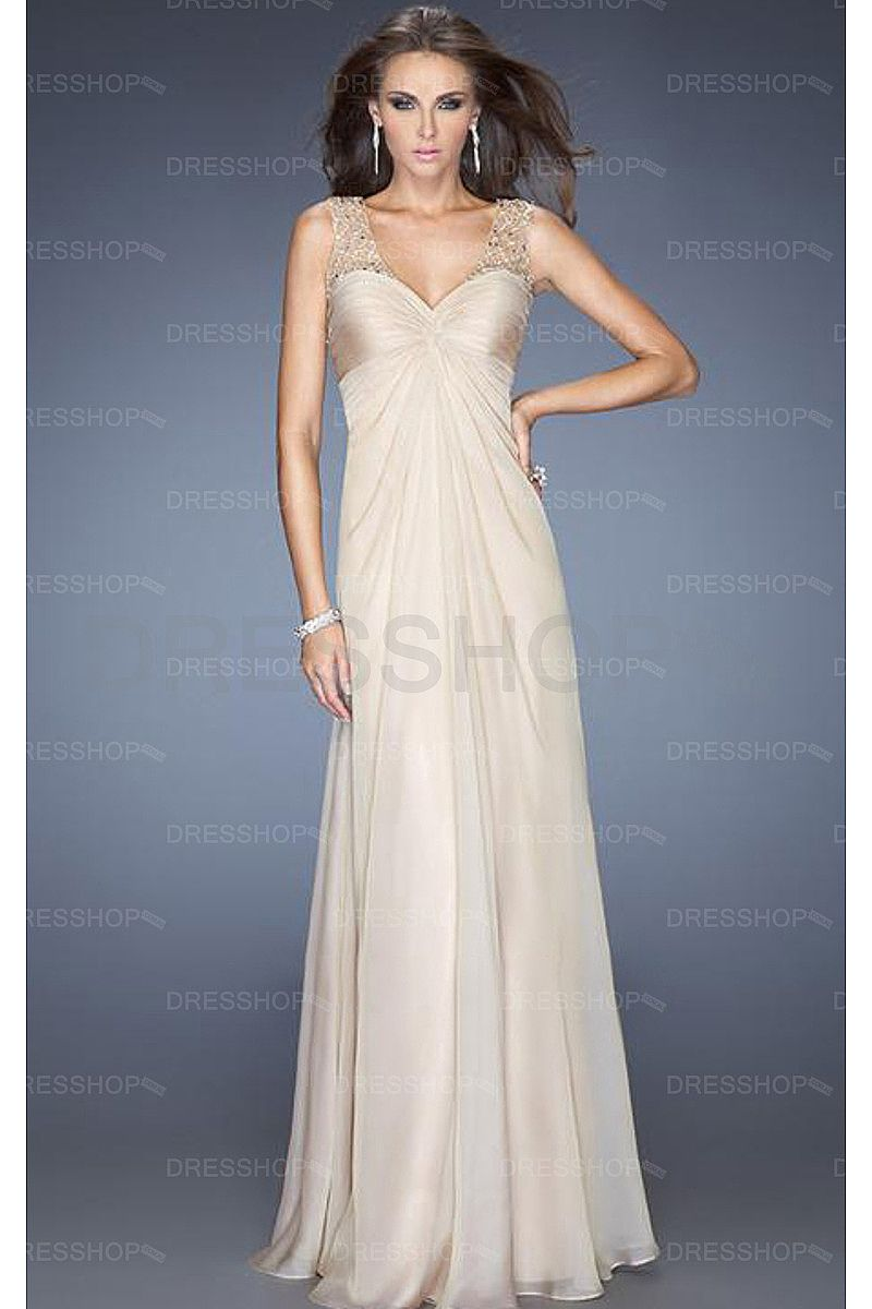 Yellow Shoulder Straps Empire Chiffon Sleeveless Prom Dresses ...