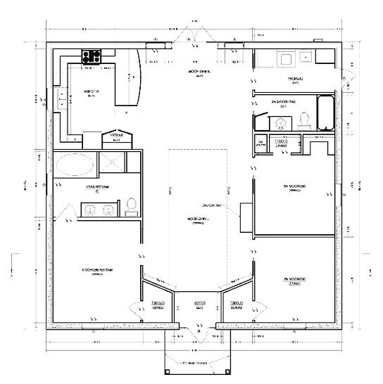 Square Floor Plan Economical Build Small House Floor Plans House Floor Plans Cinder Block House