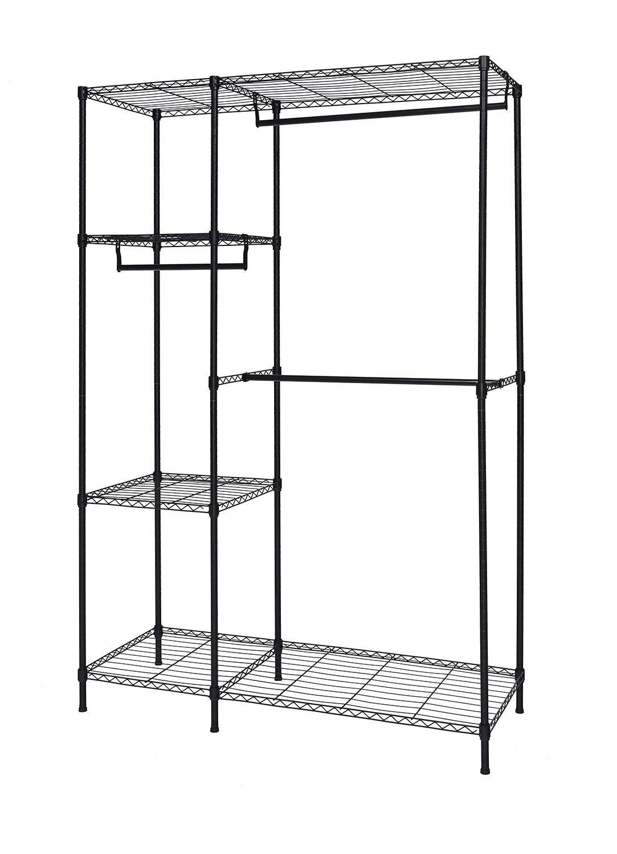 finnhomy heavy duty wire shelving garment rack for closet organizer portable clothes wardrobe storage with adjustable - Portable Clothes Rack