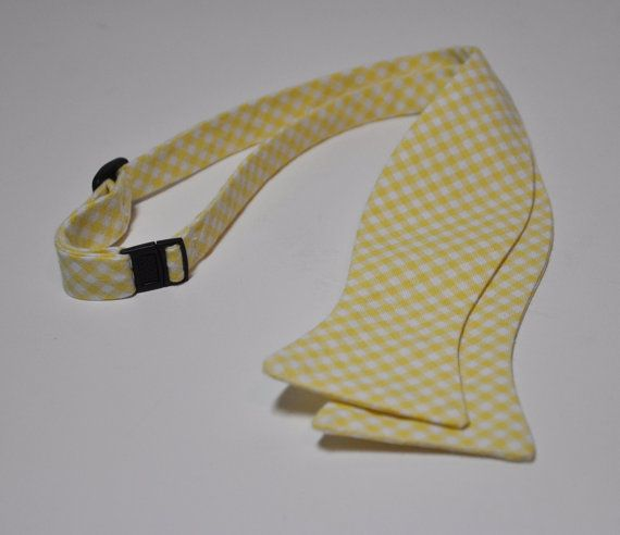 Freestyle Bowtie for Men Yellow Gingham LOTS of COLORS AVAILABLE