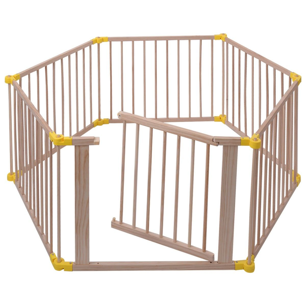 Baby Playpen 6 Panel Foldable Wooden Frame Kids Safety Play Fence In/Outdoor    Play