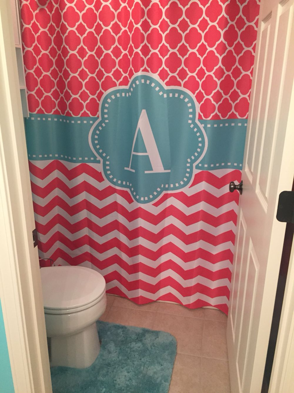 Bathroom Decorated For Our Little Girl Coral And Teal Cute Shower