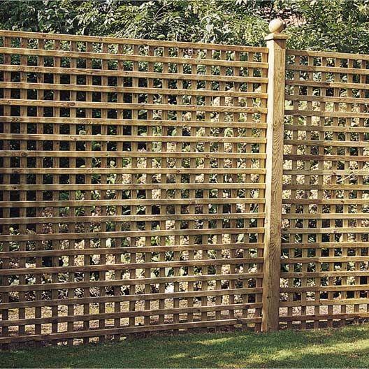 Panneau Treillis Bois Ajoure Castille L 180 Cm X H 180 Cm Marron