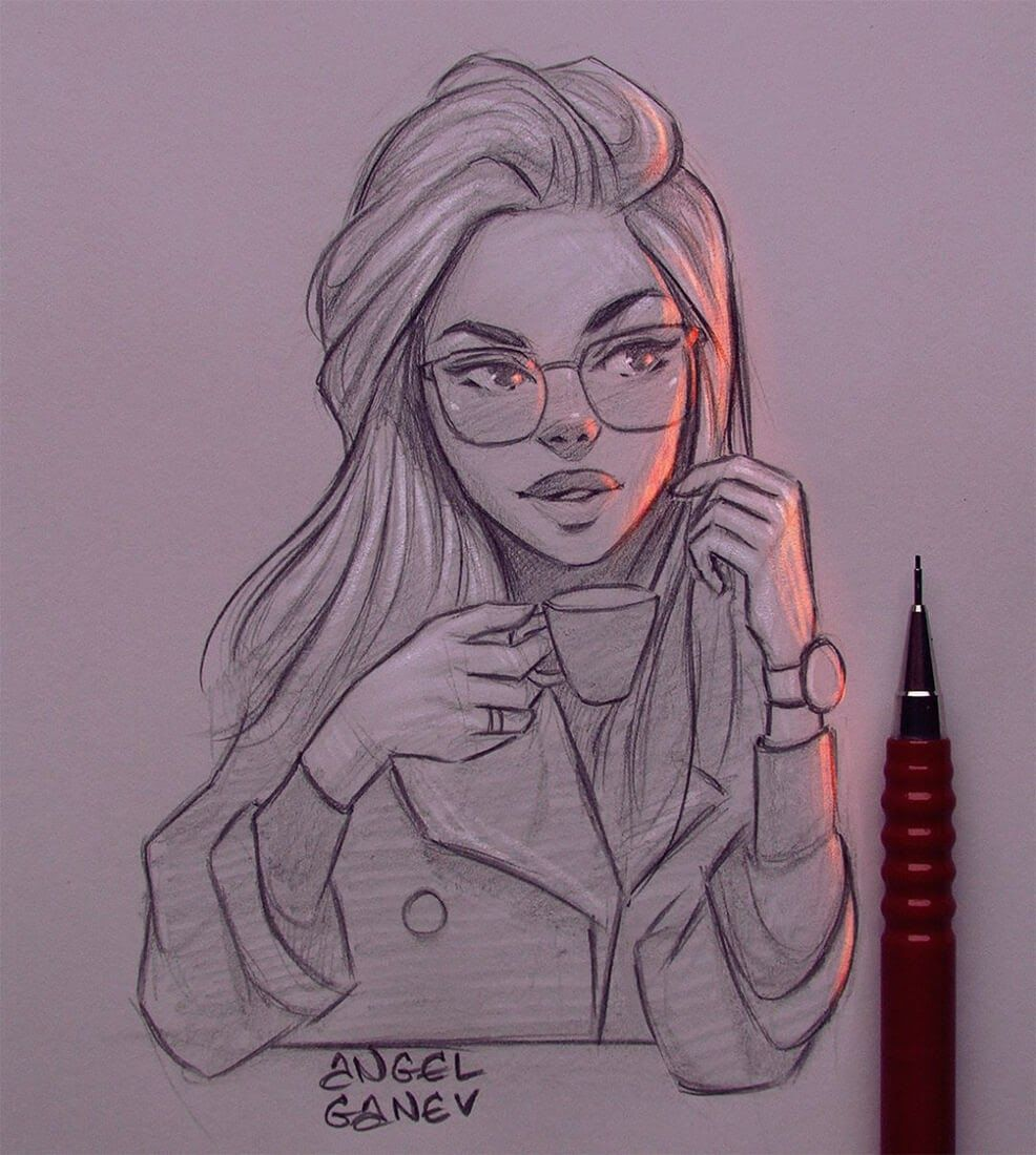Luminous Pencil Portraits That Glow Cool Art Drawings Art Drawings Sketches Pencil Art Drawings