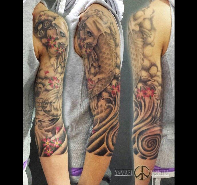 Feminine Koi 3 4 Sleeve Tattoo By Samael Cahill Small Tattoos For Guys Swirl Tattoo Cool Tattoos