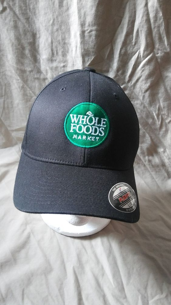 Whole Foods L-XL Embroidered Black Hat FlexFit Employee Cap Coral Gables  Florida  Yupoong  BaseballCap  WholeFoods a7c6140a9ed