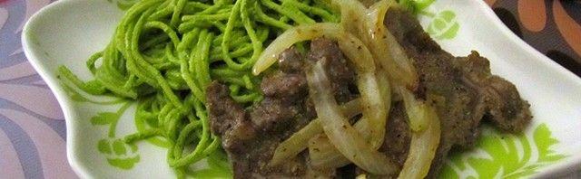 Tallarines verdes con bistec y cebollas peruvian food recipe in tallarines verdes con bistec y cebollas peruvian food recipe in english forumfinder Images