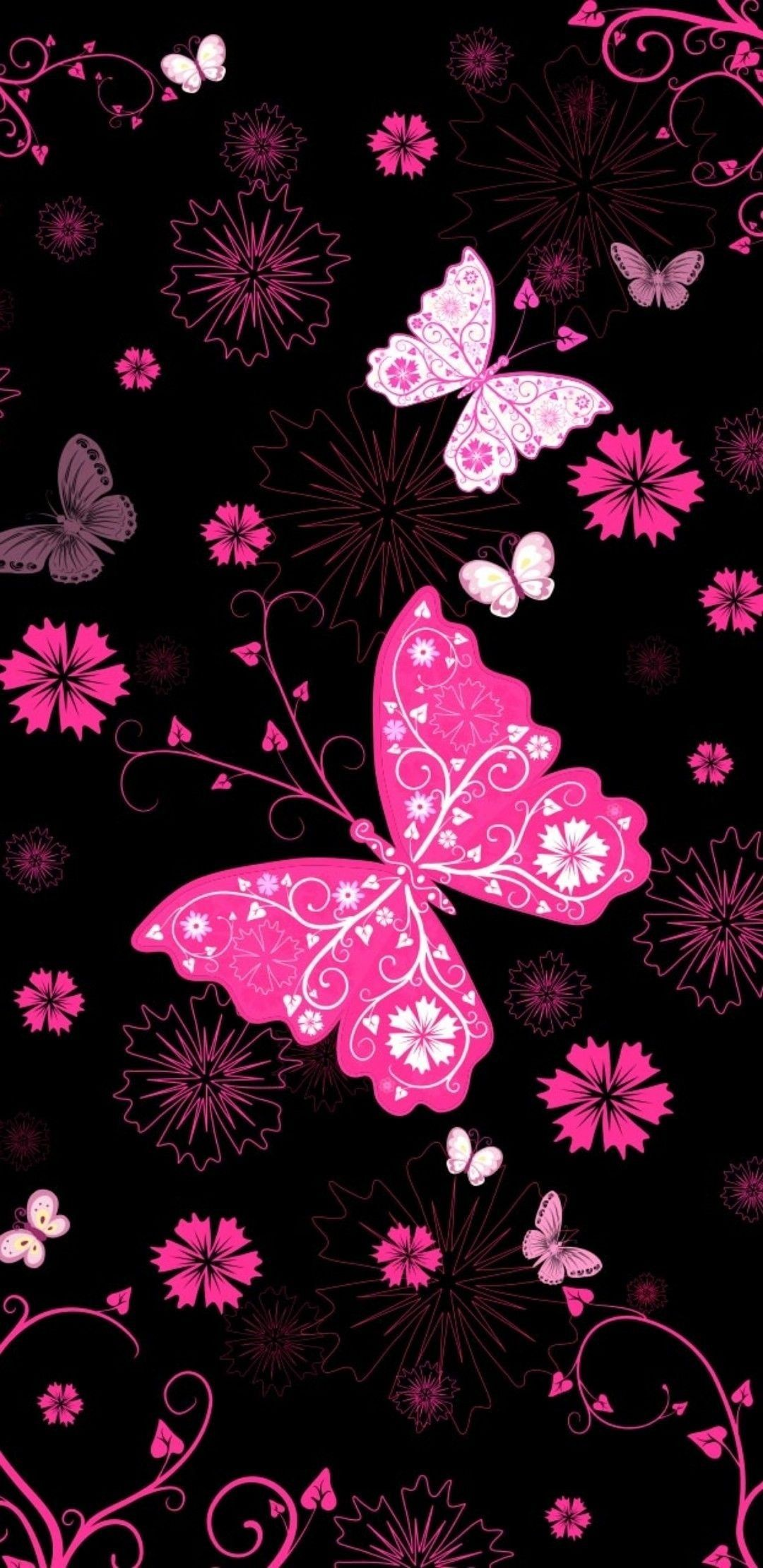 Black And Pink Butterfly Wallpaper Cute Wallpaper Backgrounds