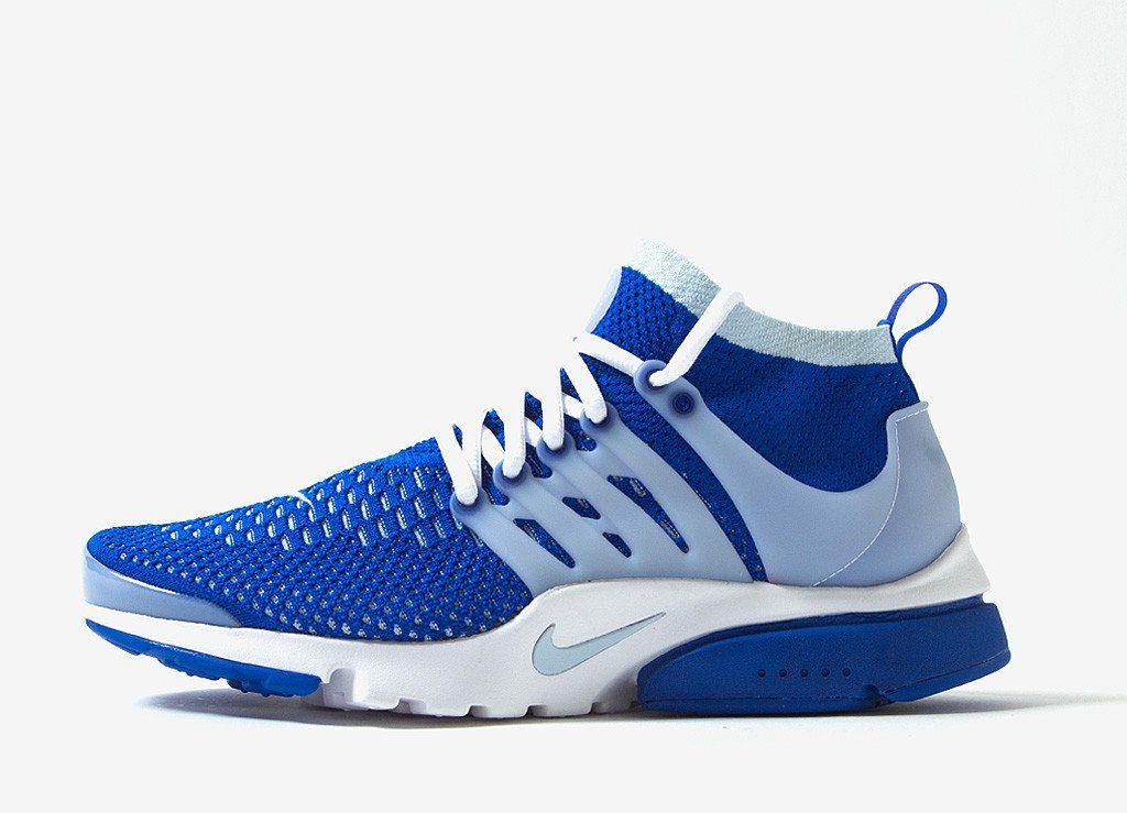 nike air presto ultra flyknit tinta grigio / blu blu, scarpe da corsa