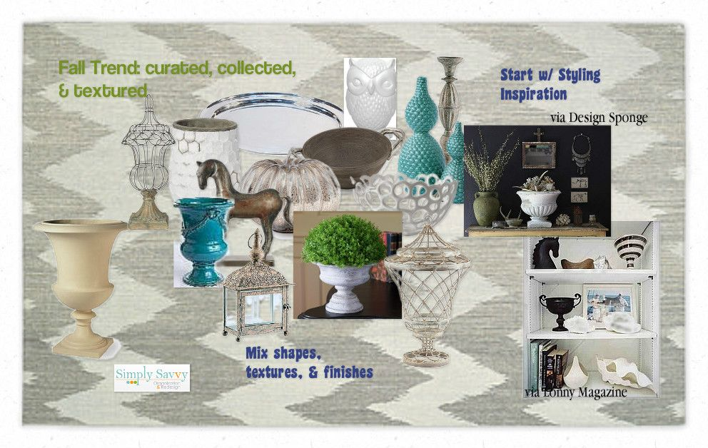 Fall trend:: Curated collected and textured by Simply Savvy #falldecor #falltrend #decor #curated