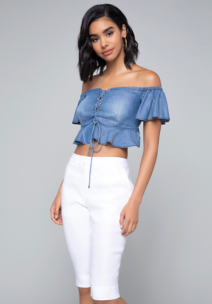 bb0823277ce Bebe Women's Chambray Lace Up Crop Top, Size 12, Chambray | Products ...