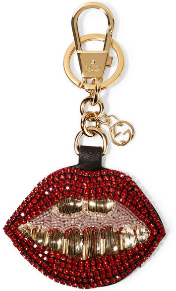 edcc2c3faea Gucci - Crystal And Bead-embellished Leather Keychain - Red