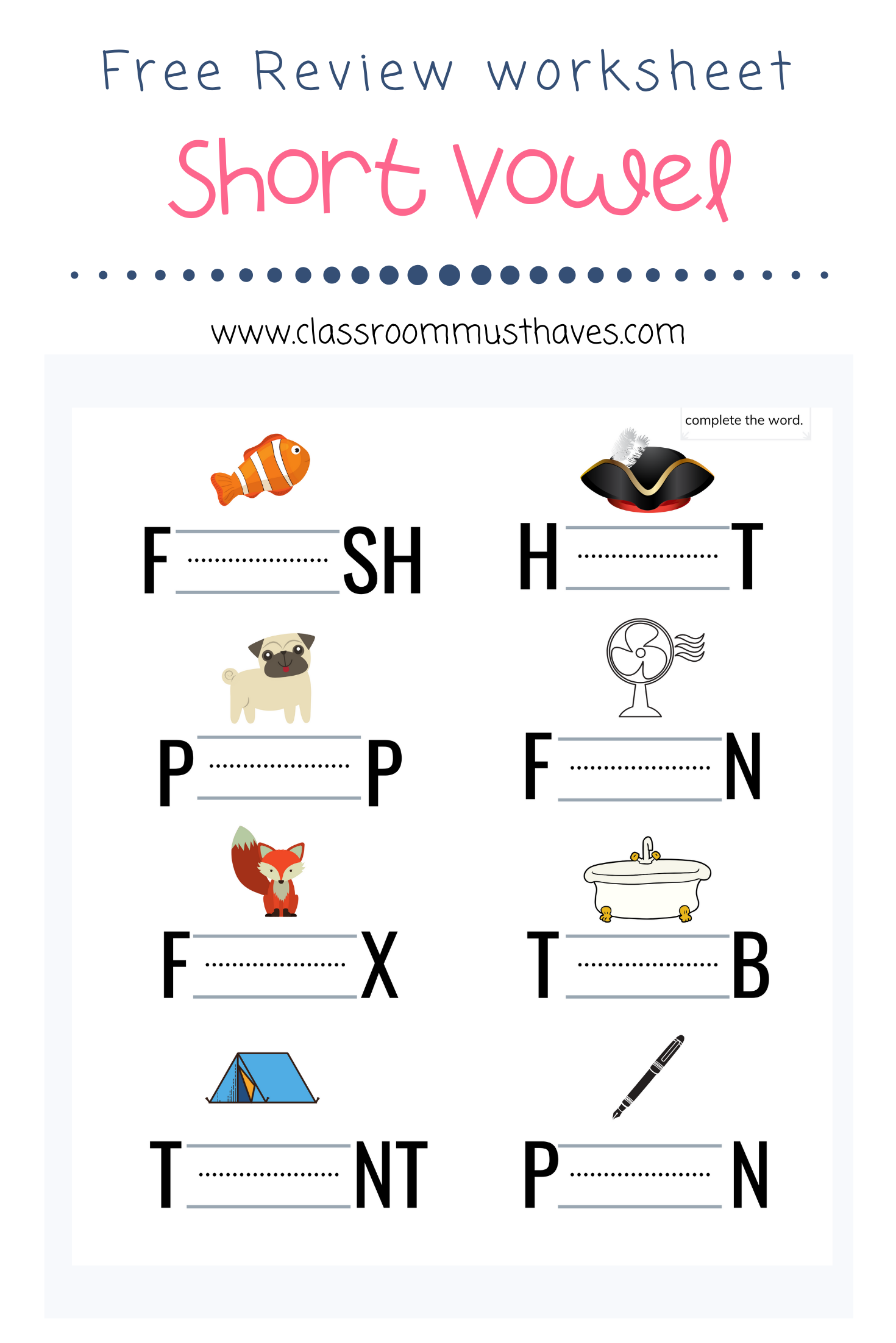 Free Short Vowel Review Worksheets In With Images