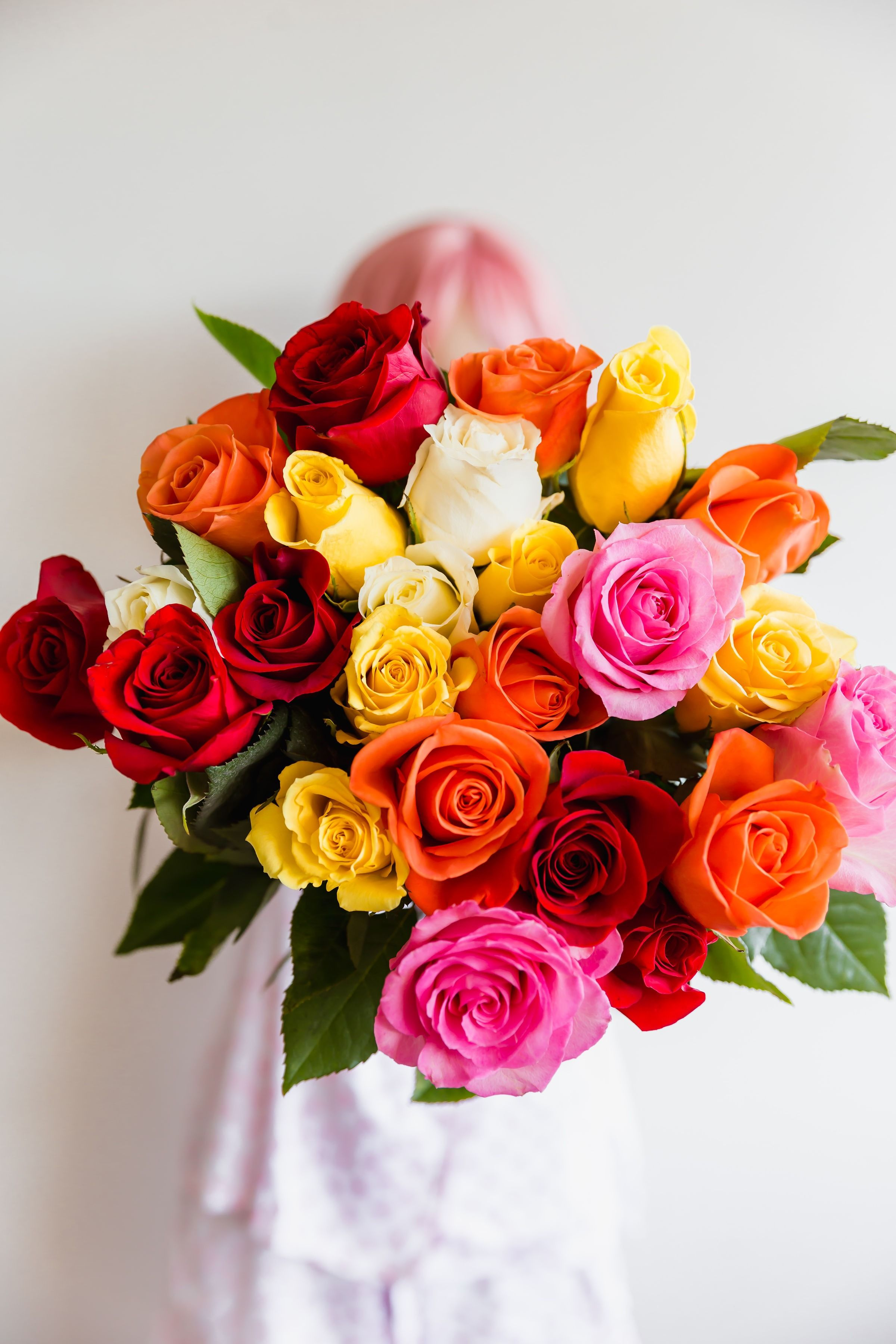 This Assorted Multi Colored Rose Bouquet Has An Assortment Of