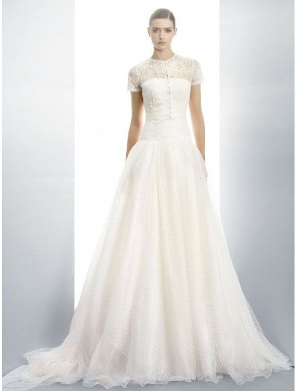 Tulle and Lace Jewel Neckline A-Line Wedding Dress with Lace Short ...