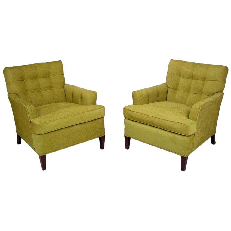 I Ll Take Both Please Pair Heritage Henredon Club Chairs In Quilted Sage Wool Club Chairs