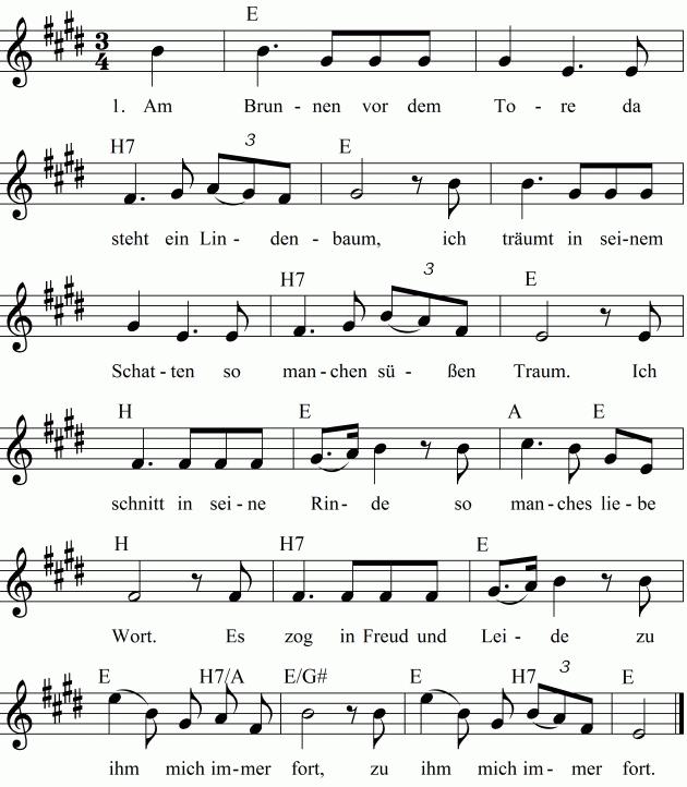 Noten Liedtext Und Midimp3 Zum Anhren Des Lieds Am Brunnen Vor