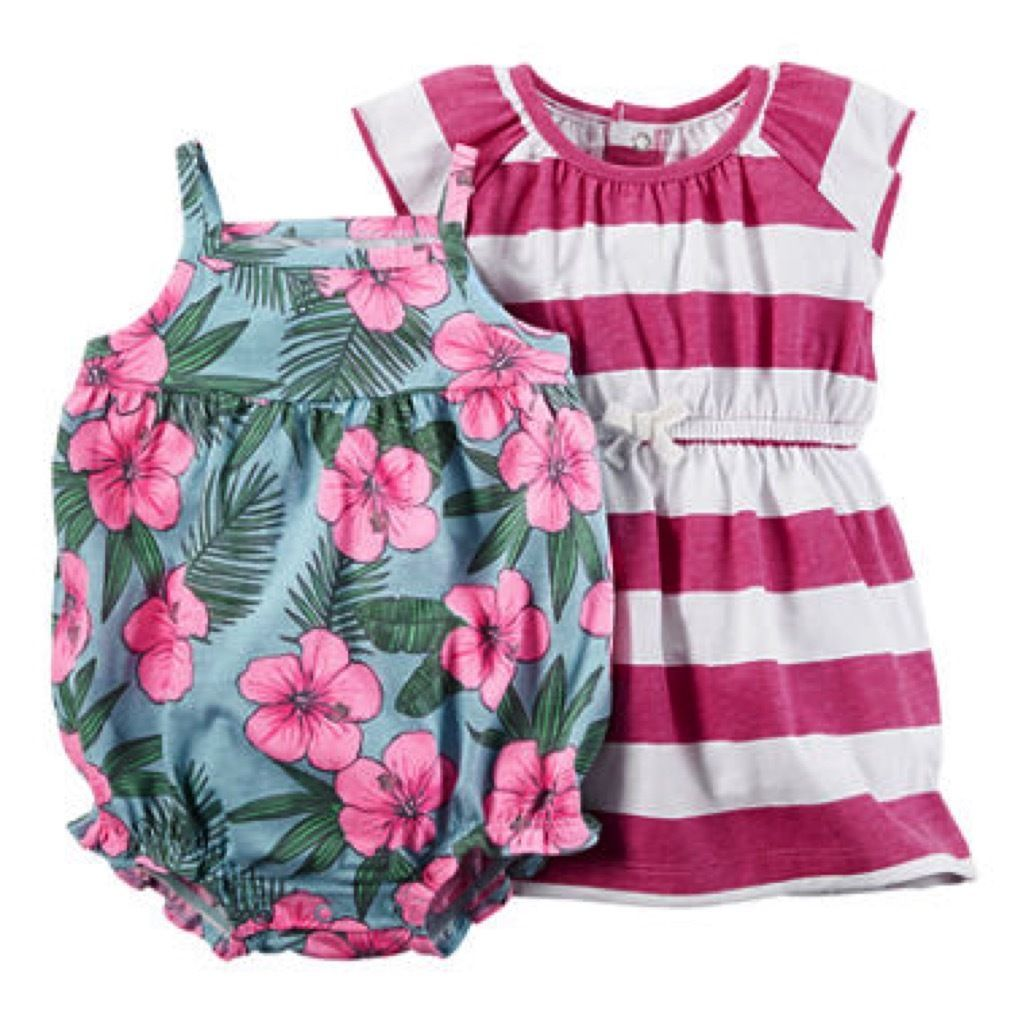 69a63a574 Carter's Nwt 3M 6M 12M 18M Infant Girl Tropical Romper Striped Dress 3Pc Set
