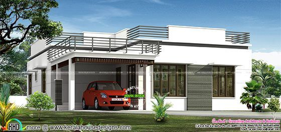 flat roof single floor home in 1300 sq ft kerala home design - Flat Home Design