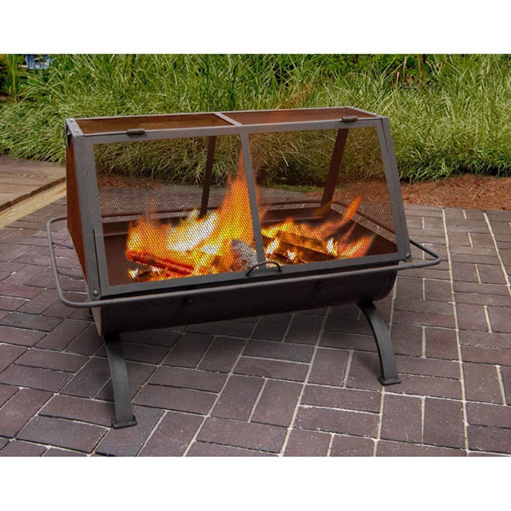 square fully enclosed portable cooking fire pit fire pits