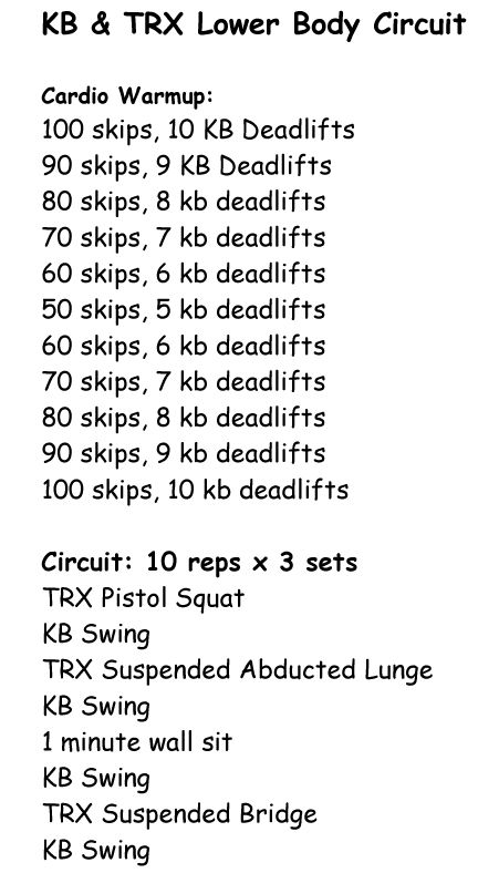 Kettlbell & TRX Lower Body Circuit