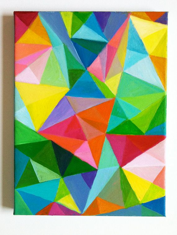abstract original acrylic painting colored triangles blue red yellow green pink orange. Black Bedroom Furniture Sets. Home Design Ideas