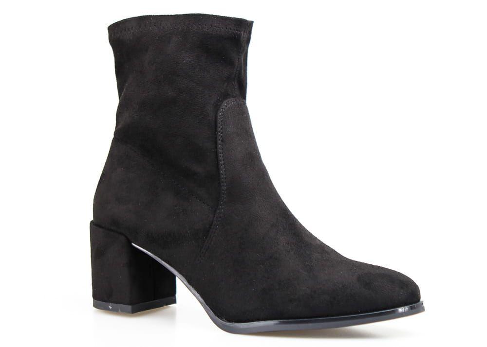 Zamszowe Botki Na Klocku Sergio Leone W Kolorze Czarnym Boots Shoes Ankle Boot
