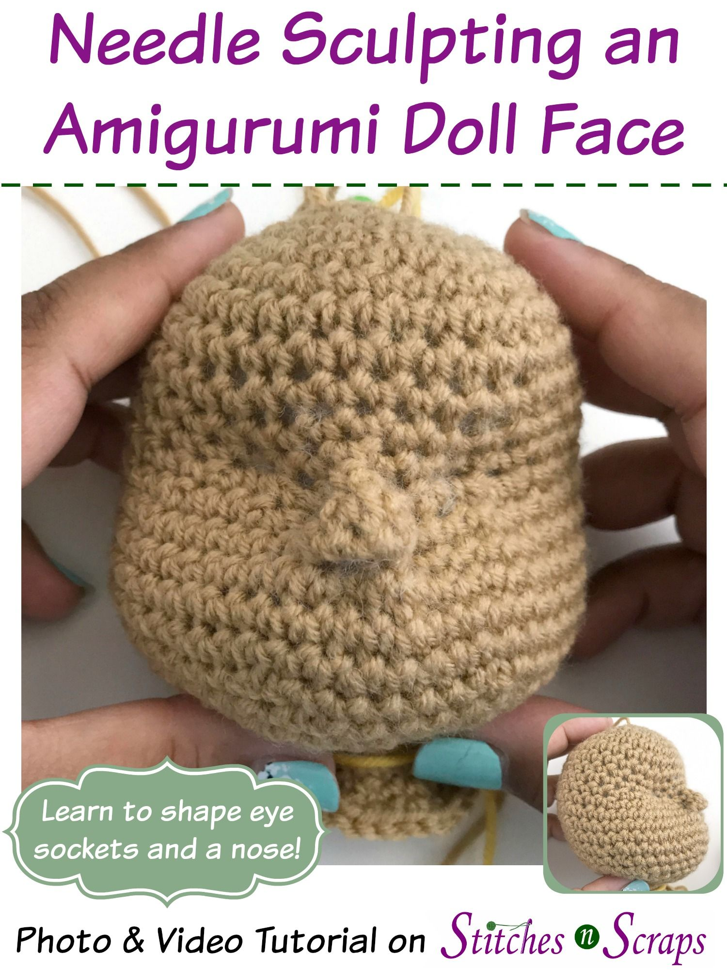 Tutorial - Needle Sculpting an Amigurumi Doll Face #amigurumidoll