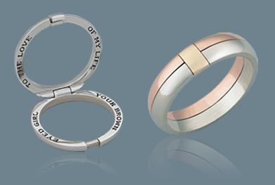 Hinged wedding band with secret message on the inside future