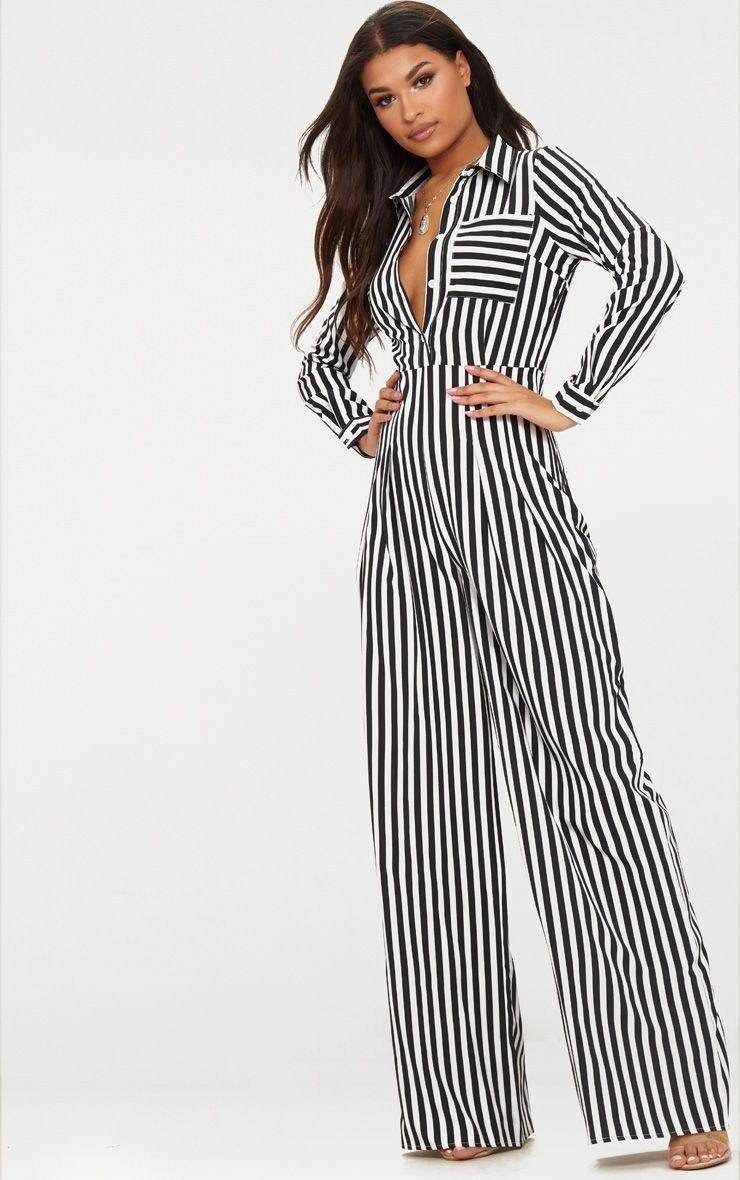 50e81a83a2e9 Pretty Little Thing Black Button Striped Long Sleeve Through Jumpsuit     Androgyny for the win with this sexy jumpsuit     PrettyLittleThing  PLT    ...