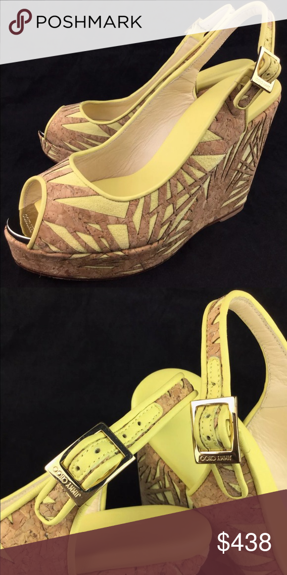 af6355ab32c50 Jimmy Choo Prova Palm Laser-Cut Cork Wedges Sandal