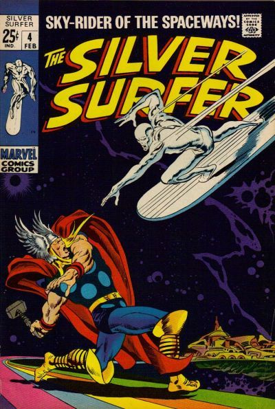 Silver Surfer #4. The Surfer and Thor head for a collision that you know can only shatter the senses. John Buscema at his very best. #comicbooks