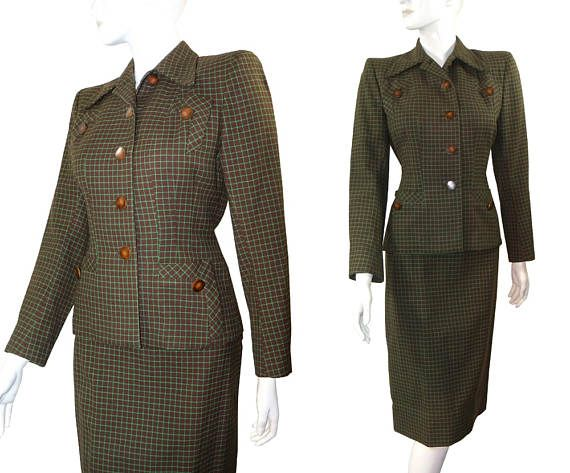 Hourglass Vintage 50s Mint Chocolate 2 Piece Dress Suit Curvy