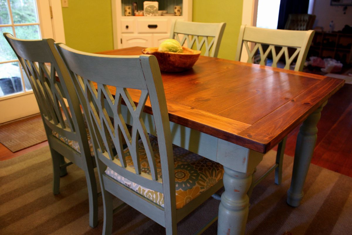 A Blue Farmhouse Dining table and chairs Kitchen table