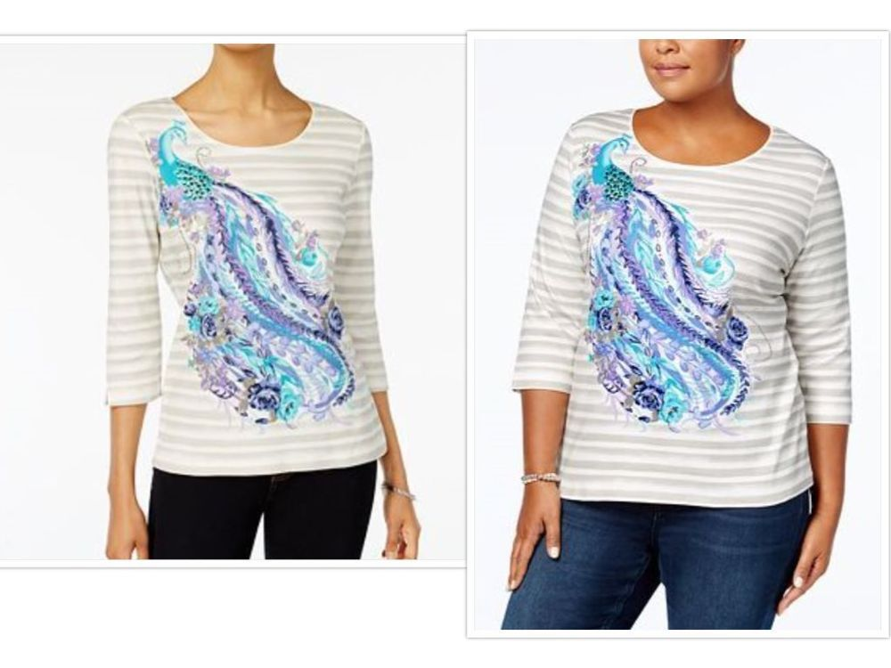 2x Karen Scott Plus Size Cotton Peacock Graphic Top New Gorgeous