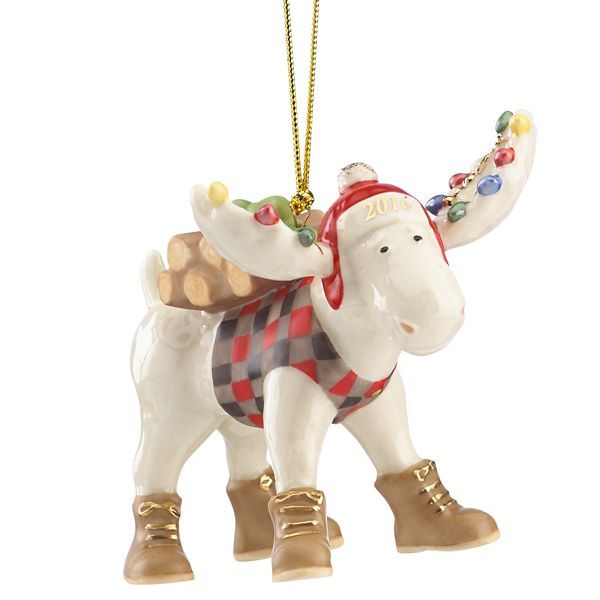 2016 Marcel the Lumberjack Moose Ornament by Lenox Woodlands
