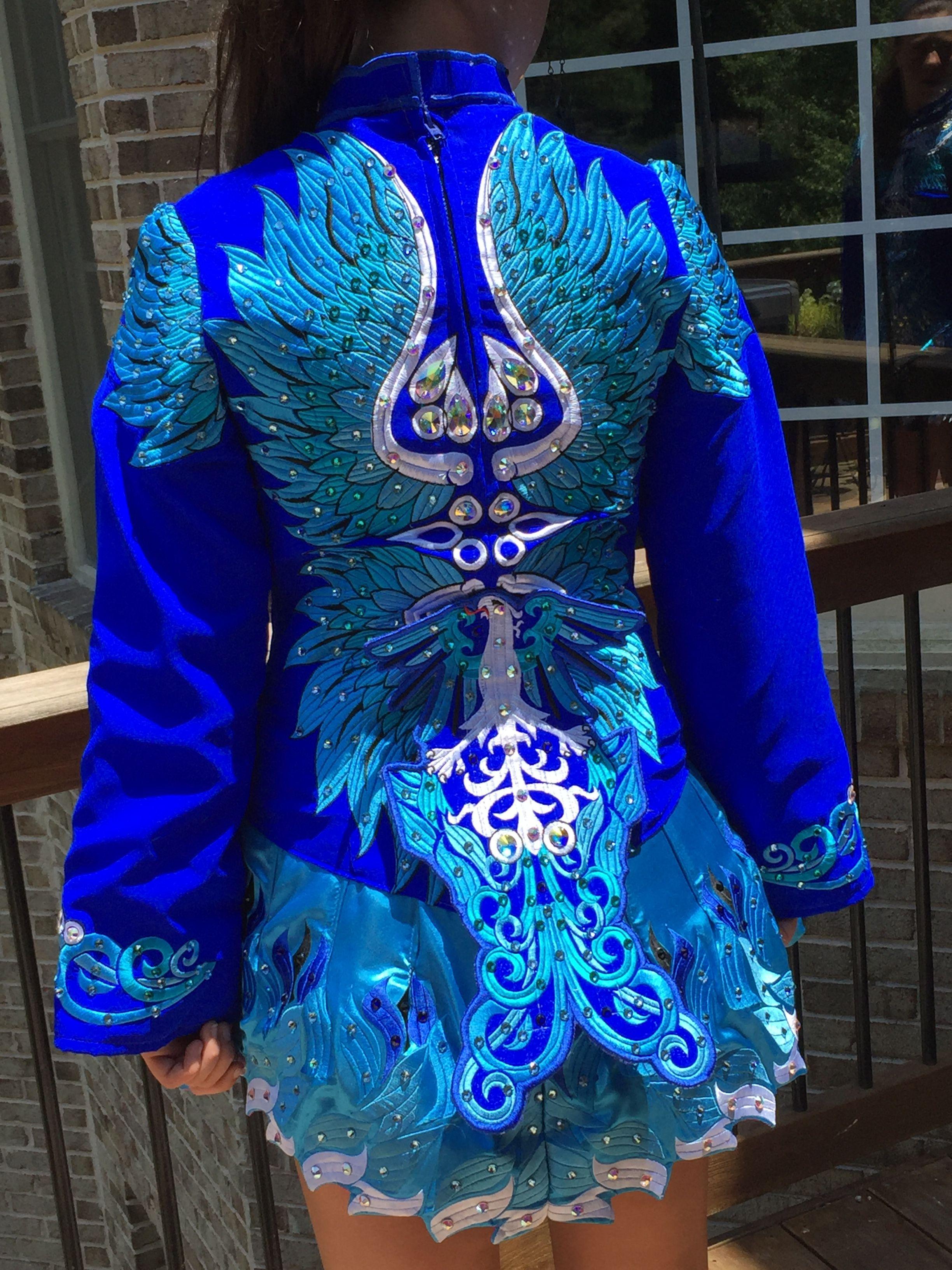 aec5a6afa0b Rising Star. Back of blue phoenix dress.