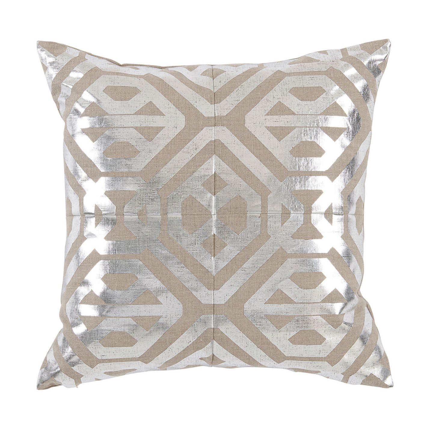 Isabella silver foil pillow bed sofa natural linen and sunroom
