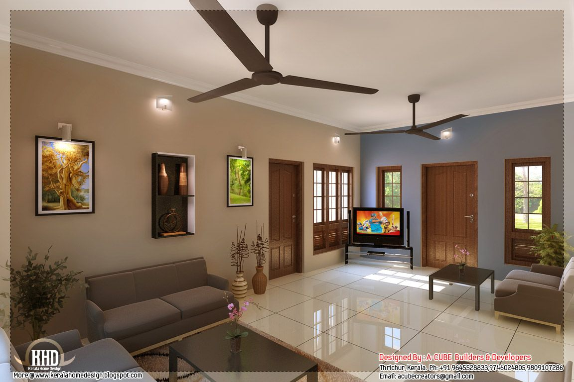 Kerala Style Home Interior Designs Hall Interior Design