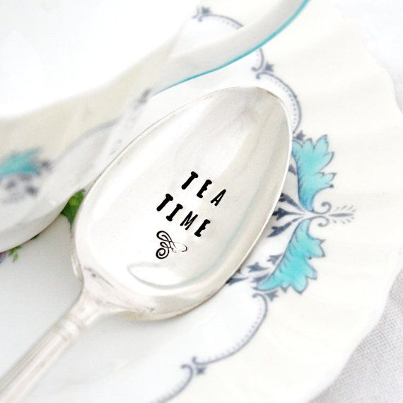 Tea Time. Hand stamped spoon for special Mother's Day gift. For your afternoon cuppa. on Etsy, $17.51 AUD