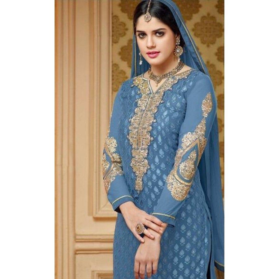 Designer Off Blue Kashish Brasso Salwar Suits By Vendorvilla