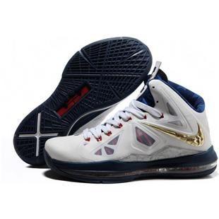 303988f46b78 www.asneakers4u.com Cheap Nike Lebron 10 Shoes Gold White Blue Red ...