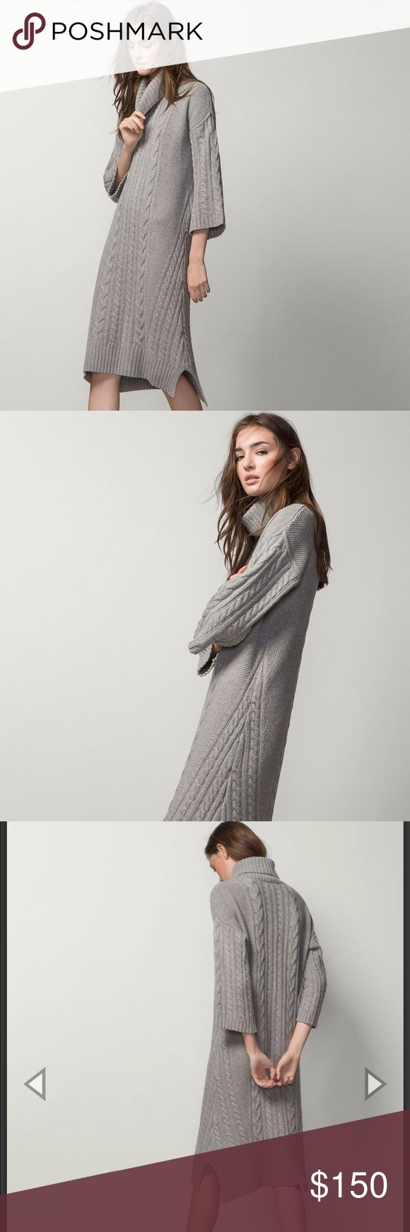 f26242efeb NWT Massimo Dutti Italian Yarn Sweater Dress Stunning warm gray cowl neck  turtleneck sweater dress in Knitted yarn Massimo Dutti Dresses Long Sleeve