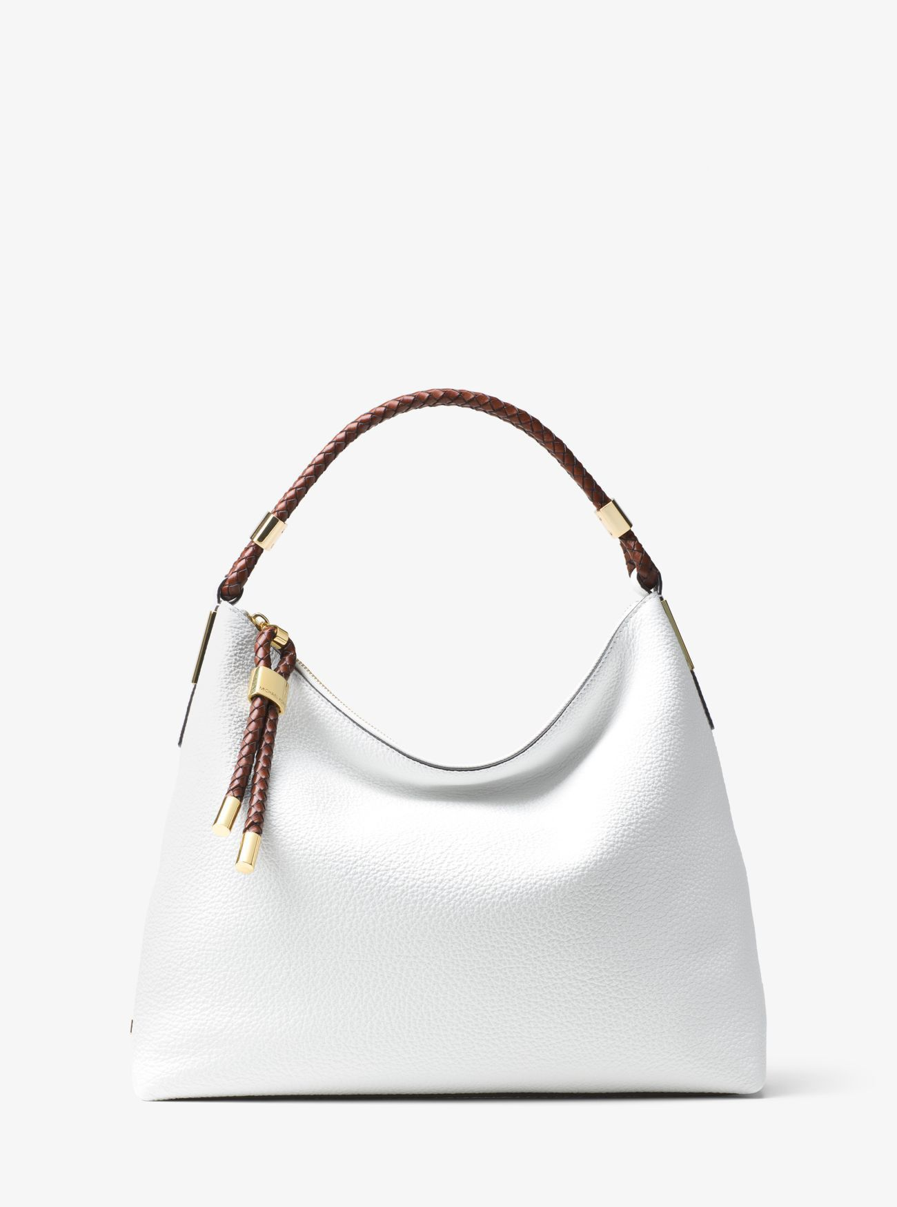 0fa00d87f95e Online Michael Kors Optic White Skorpios Large Leather Shoulder Bag Cheap